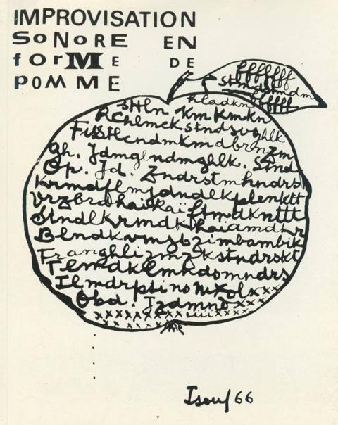 Леттризм. Исидор Изу. Звуковая импровизация в форме яблока. 1966